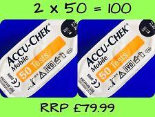 ACCU-CHEK mobile di Sangue Glucosio Diabete Strisce Test/Cassette - 2 x 50-RRP £ 79