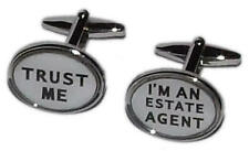 White & Black Trust Me Im An Estate Agent Cufflinks With Gift Pouch Present