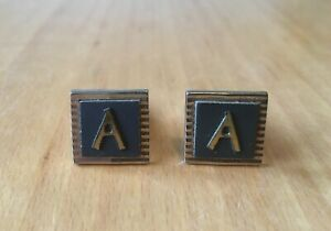 """VINTAGE GOLD TONE METAL SQUARE SHAPED CUFFLINKS-BLACK FRONT WITH INITIAL """"A"""""""