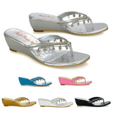Womens Wedge Heel Sandals Diamante Heart Dangle Ladies Slip On Mule Shoes 3-9