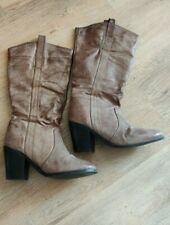 New Look Western Cowboy Boots Size 5 Distressed Brown