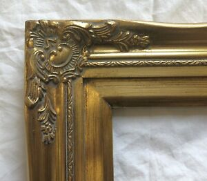 """Picture Frame- 24x30"""" Ornate- Classic Gold Color w/ Liner- Wood/Gesso- 637GM"""