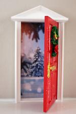 Opening Christmas elf door with northpole image