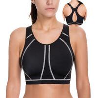 34-40 B C D DD E Women High Impact Wireless Padded Active Running Yoga Sport Bra