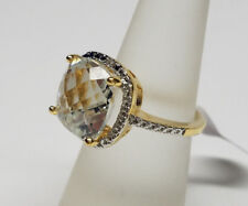 18k Gold 925 Sterling Silver White Topaz Gemstone Engagement Ring Size 7 NWT
