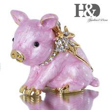 Bow Pig Trinket Box Hinged Handcraft Figurine Collectible Ring Holder Keepsake