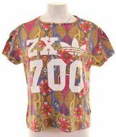 ADIDAS Womens Graphic T-Shirt Top UK 12 Medium Multicoloured  LP12