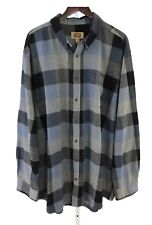 Foundry Mens 2XLT Tall Blue Black Gray checks Long Sleeve Button Front P-78