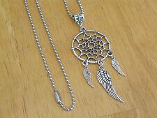 Indian Dream Catcher Pendant Necklace w/Angel Wings Silver-Tone Men's/Women's