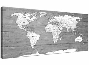 Large Black White Map of World Atlas Canvas Wall Art Print - 120cm Wide - 1315