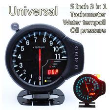 5 Inch Stepper Motor 3in1 Car Meter Tachometer RPM Water Temp Oil Pressure Gauge