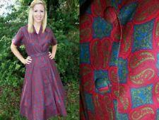 Vtg 50s BUNNY'S CASUAL Day Dress Cotton MIAMI Button Down BELT DEADSTOCK M L