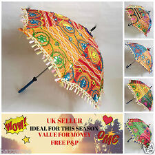 Decorative Indian Hand Embroidered Parasol Wedding Vintage Sun Shade Umbrella UK