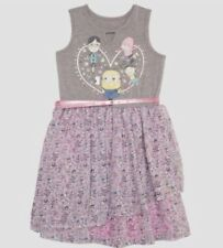 NEW Girls' Despicable Me Minion 3 Ruffle Dress Heather Gray Size: Large 10/12