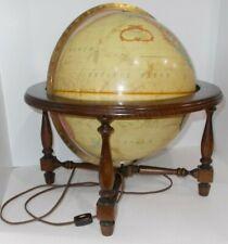 "Vintage 1980's Replogle 12"" Lighted Globe World Premiere Series W/ Wooden Base"