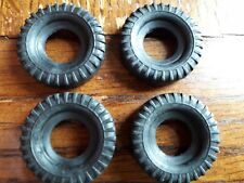Dinky x4 replacement 27mm tyres black, treaded for 965 Euclid 666 886 888 885