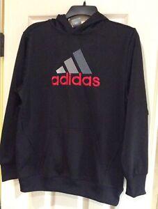Adidas Boys Large Black Hoodie