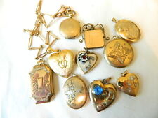 10 Vintage 10K 12K and 14K Gold Filled Locket Lot  Book Sweetheart
