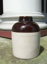 "Antique 9-1/2"" Stoneware Jug Wide-Mouth Bale-Handle Brown & Cream"