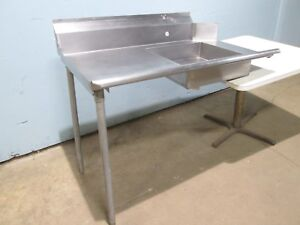 HEAVY DUTY COMMERCIAL 100% S.S. LEFT SIDE DIRTY DISH WASHING TABLE w/RINSE SINK