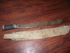 """WW2 1942 tt-18 true temper machete long knife 18"""" & US Navy MK2 Canvas Sheath"""