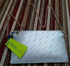 BN VERSACE Ladies Designer Silver Pink Stylish Logo Chain Evening Handbag Clutch