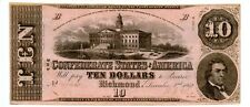 1862.   $10     Confederate Currency  T-52