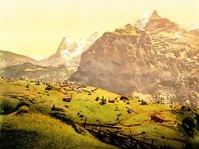 VINTAGE PHOTOGRAPH MOUNTAINS SWITZERLAND ART POSTER PRINT LV4783