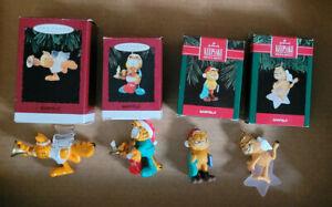 4  HALLMARK KEEPSAKE GARFIELD ORNAMENTS  1991, 1992, 1994, 1995, ORIGINAL BOXES