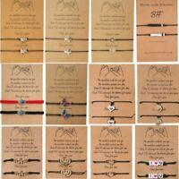 Lucky String Charm Adjustable Bracelet Friendship Heart Bangle Gift Couple Card
