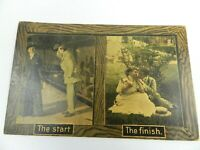 Vintage Postcard The Start The Finish 1912 Man and Women Courtship