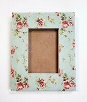 """Vintage Green Floral Photo Frame Holds 4x6"""" Picture Pink Rose Freestanding"""