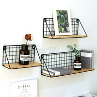 Wooden Metal Display Floating Shelves Wall Shelf Wall-Mounted Storage Rack