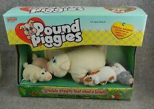 Galoob Pound Piggies Mini Mommy and 4 Piggy Family Plush Pigs + adoption paper