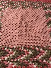HANDMADE CROCHETED THROW PINK MULTI-COLORED