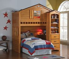 Acme Tree House Oak Bunk Bed Loft W/ Twin Bed And Desk Furniture 10160/ 10163