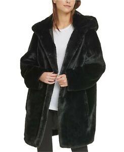 LADIES DKNY Hooded Faux Fur Coat in BLACK SIZE MEDIUM (T22)