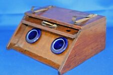 Unusual Antique Victorian double inkwell Coal Scuttle Shaped Blue liners 1886