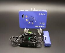 SONY WALKMAN WM-EX66 Personal Cassette Player remote AA pack Full working BLUE