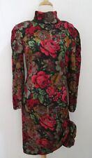 vtg 80s LOUIS FERAUD Floral print silk dress F 40 US 8 bow hem