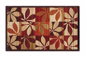Red, Nylon, 3 x 5 Ft Floral Runner with Anti Skid Backing For Home Decor, 1 Pc