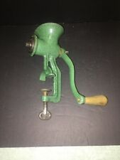 Antique Harper ?  Beautiful Green Enamel over Cast Iron Meat Grinder Mill