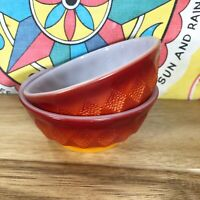 2 Fire King Small Kimberly Bowls Red Orange Ombré Kitchen White Glass Dish Vtg