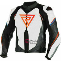 """REVOKO"" Super Speed Estiva White Black Fluo Red Motorbike Racing Leather Jacket"