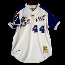 100% Authentic Hank Aaron Mitchell Ness 1974 Braves MLB Jersey Size 44 L