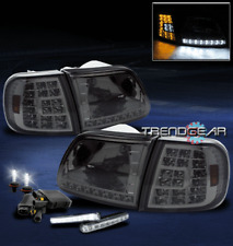 1997-2003 FORD F150 EXPEDITION LED SMOKE CRYSTAL HEAD LIGHT+CORNER+DRL+6000K HID