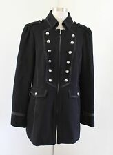 White House Black Market Black Military Style Stand Collar Jacket Coat Size L