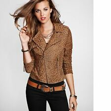 New Women's sz L GUESS Long-Sleeve Leopard-Print Genuine Leather Jacket