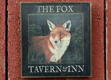 "Medium Repro-Original Art - Trade Pub Sign ""Fox Tavern & Inn"" On Wood, Hunt"