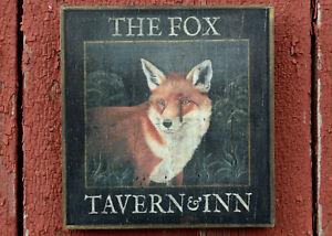 """Medium Repro-Original Art - Trade Pub Sign """"Fox Tavern & Inn"""" On Wood, Hunt"""